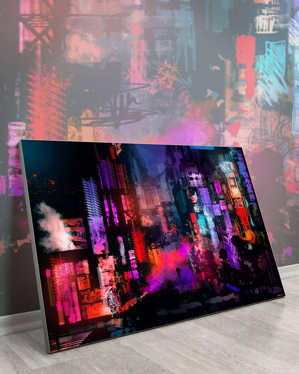Unleashed at Night | Daniel Ignacio | a Slanted Extra Large Abstract Wall Art Piece with a Semblance of a Cityscape