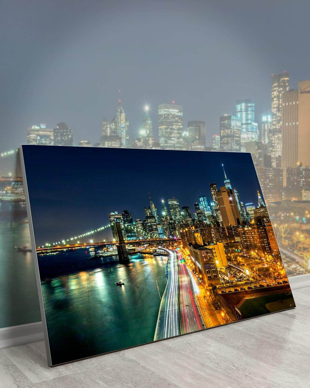 Gigantic Big Biggest Massive Huge Large Largest Giant Wall Décor Art Backlit Fabric Home Deco Artwork Artist New York City Street Icon Aerial Scenic Peter Alessandria Lights Neon Cars