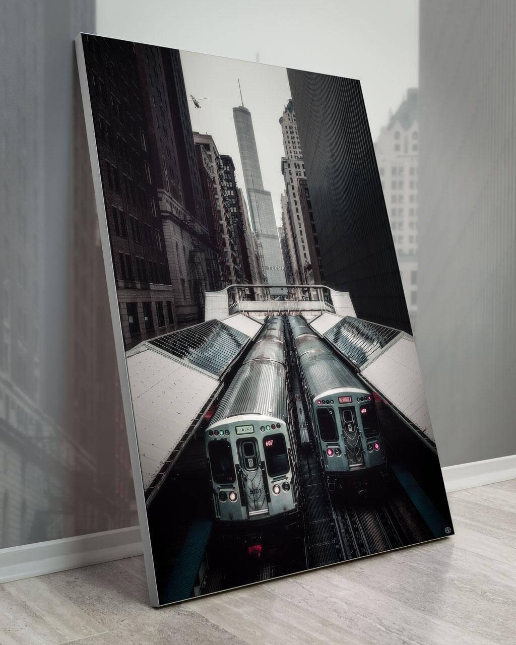 Gigantic Big Biggest Massive Huge Large Largest Giant Wall Décor Art Backlit Fabric Home Deco Artwork Artist landscape street city nature Scenic Photographer Scott Wilson Chicago Big City Trains Skyline