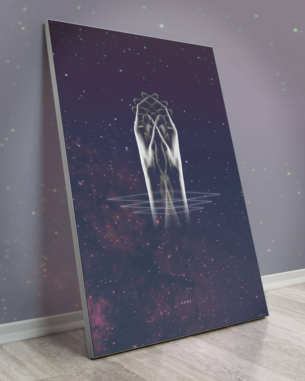 Feels like Home | Krista Hansen | a Slanted Space Wall Art Piece with Two Cosmic Hands