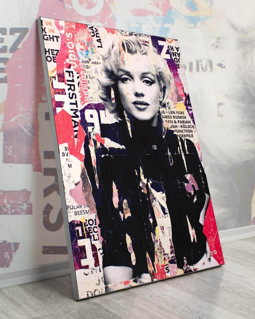 Oversized Wall Decor Marilyn Monroe Art Big Biggest Huge Large Massive Largest Giant Gigantic Wall Décor Art Backlit Fabric Home Deco Artwork Michiel Folkers Painting Collage Celebrity Newspaper Newsprint Graphic Abstract Instagram Digital
