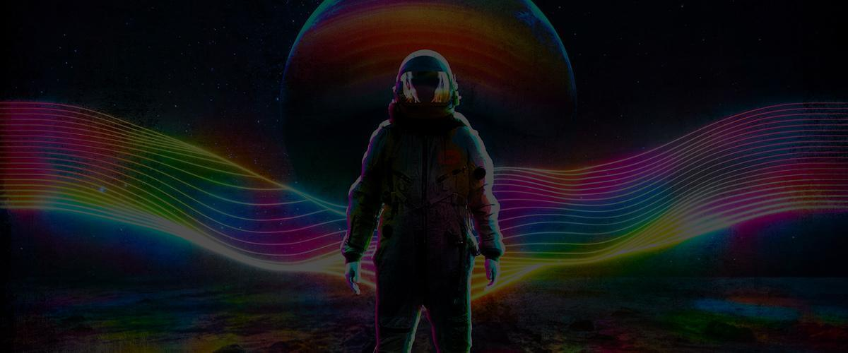 Big Outerspace Wall Art Decor Large Oversized Giant Huge Large Big Biggest Massive Gigantic Wall Art Décor Backlit Fabric Lightbox Home Deco Artwork Colorful Surreal Digital Illustrator Futuristic Neon Rainbow Space Artist Think Lumi Thinklumi Instagram Astronaut Galaxy Space Futuristic Future