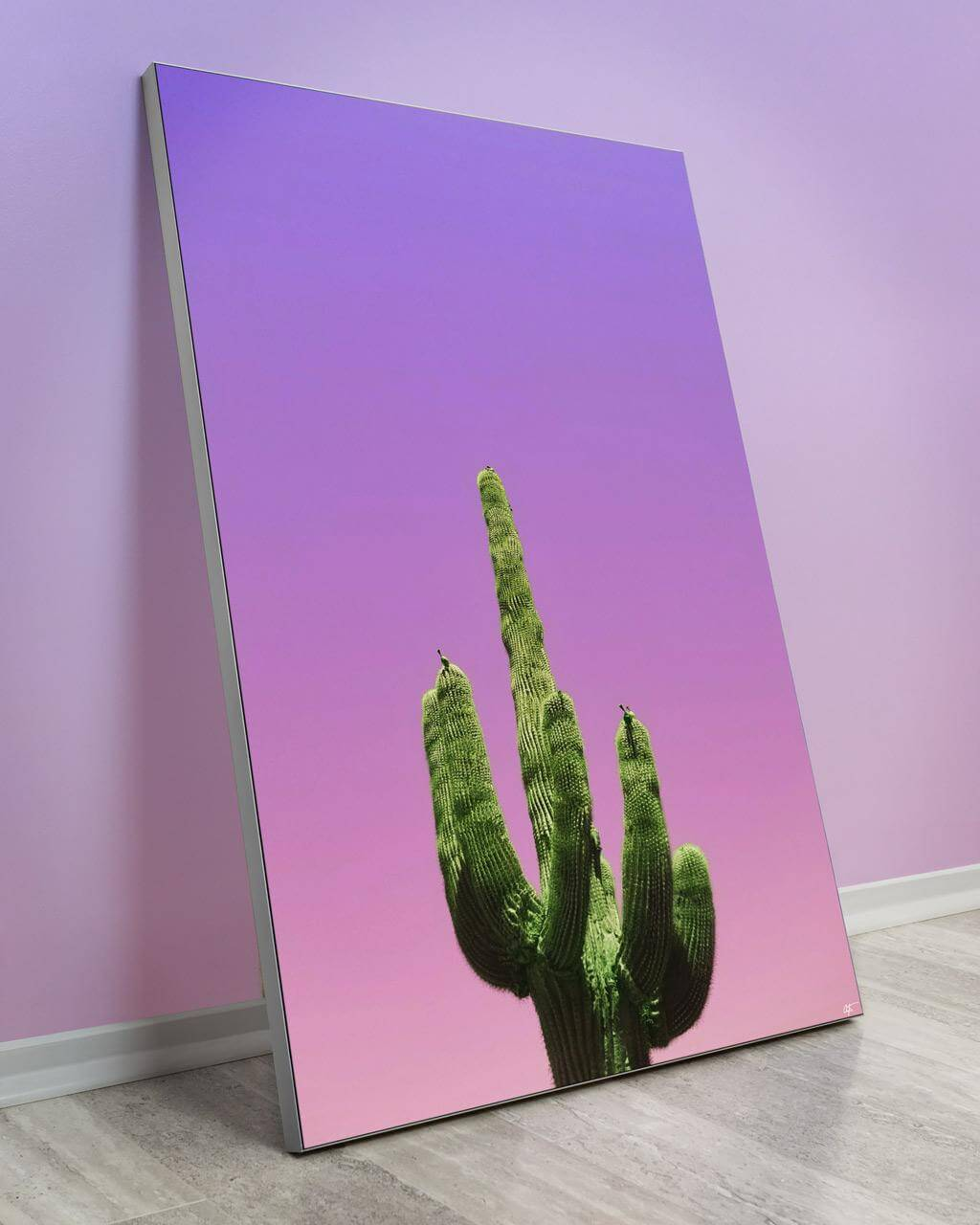 Large Paradise Valley Arizona Cactus with a purple and pink sky wall decor.