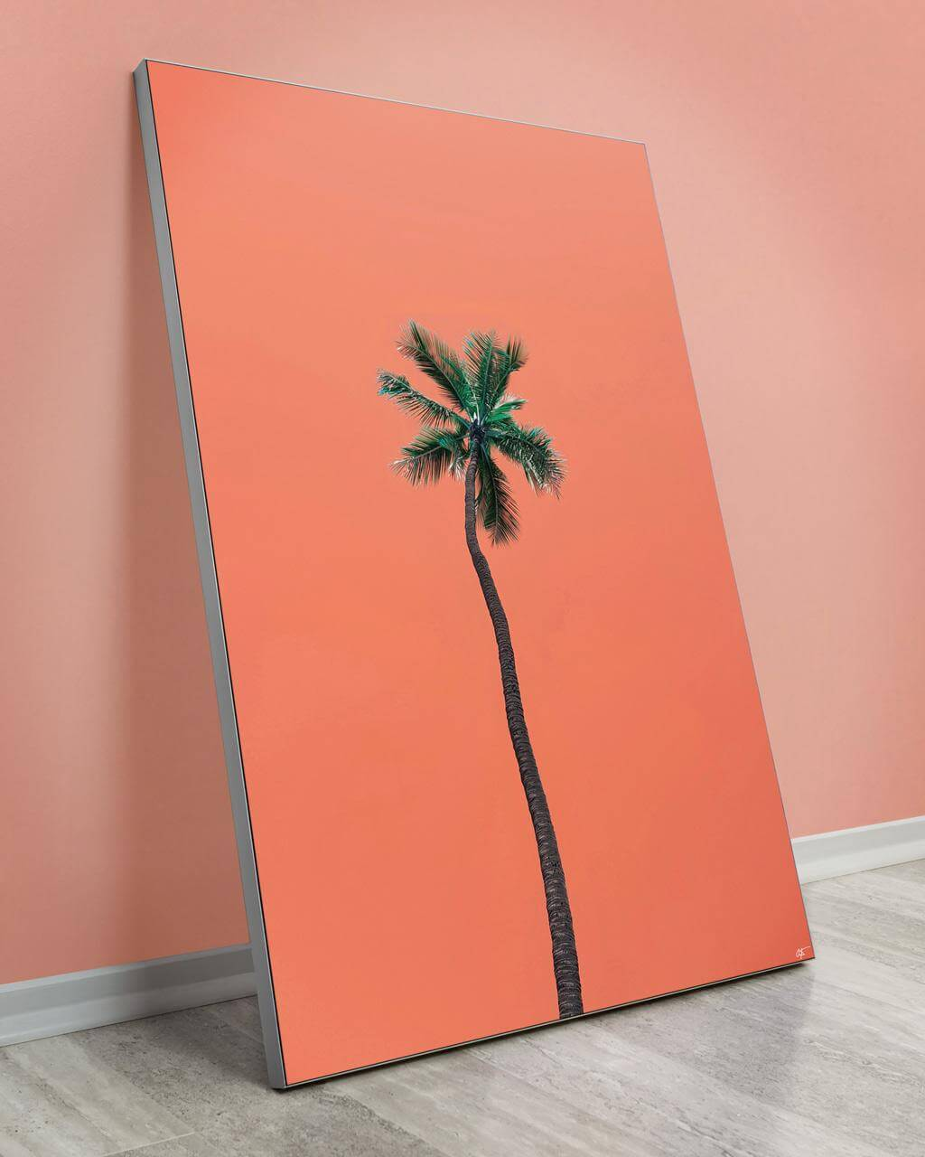 Oversized wall decor showing a single Waikiki palm tree and an orange background