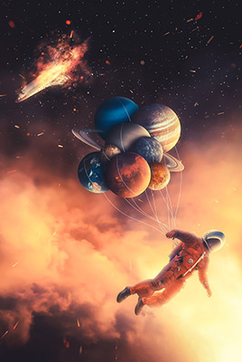 Large Astronaut and Space Galaxy Planets Wall Art Big Wall Decor Framed Fabric Artist Prints