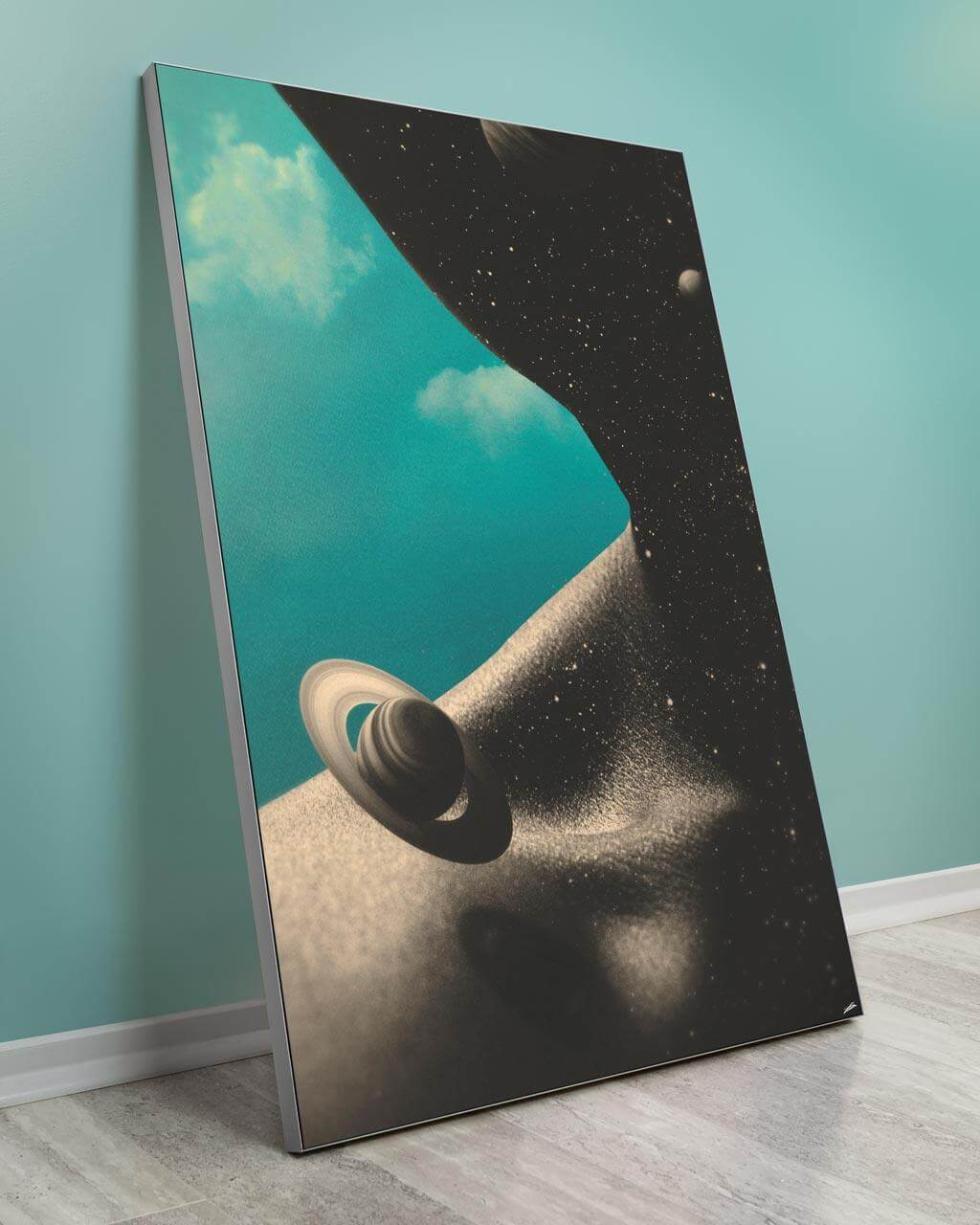 Oversized blue space and planet wall decor