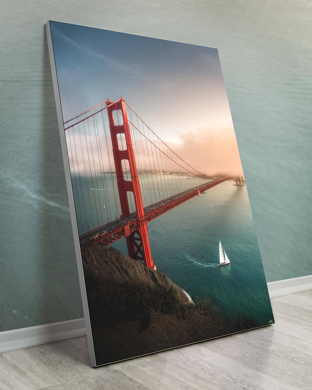 Oversized Golden Gate Bridge Wall Art Framed Fabric Decor