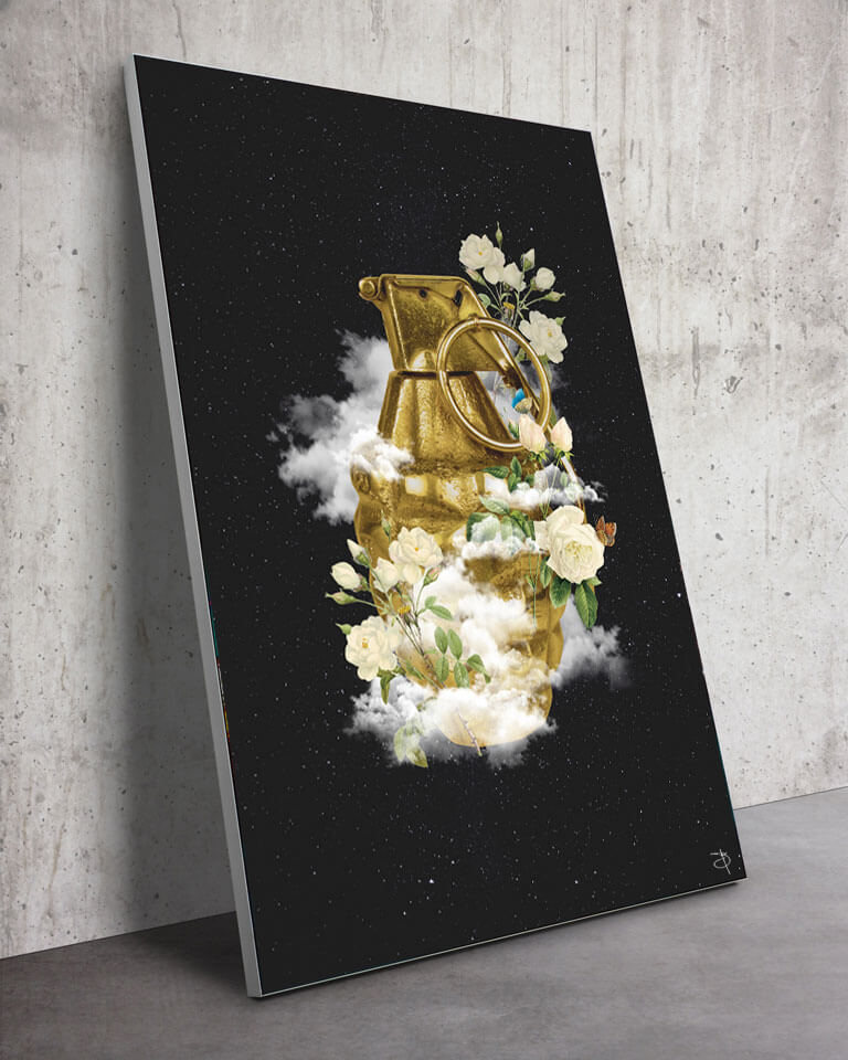 Large Frame Flowers grenade Wall Art Massive
