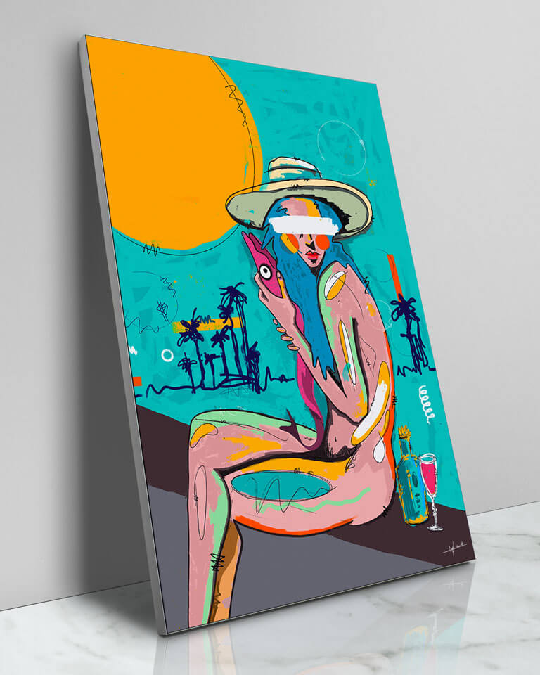 Large Colorful Painted Teal Beach Style Pop Art Grafitti Popular Culture Painted Wall Decor