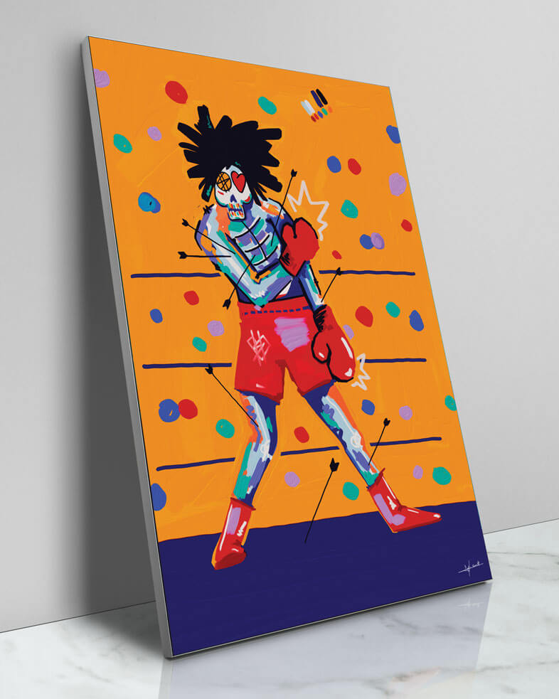 Large Colorful Painted Boxing Skeleton Pop Art Grafitti Popular Culture Painted Wall Decor