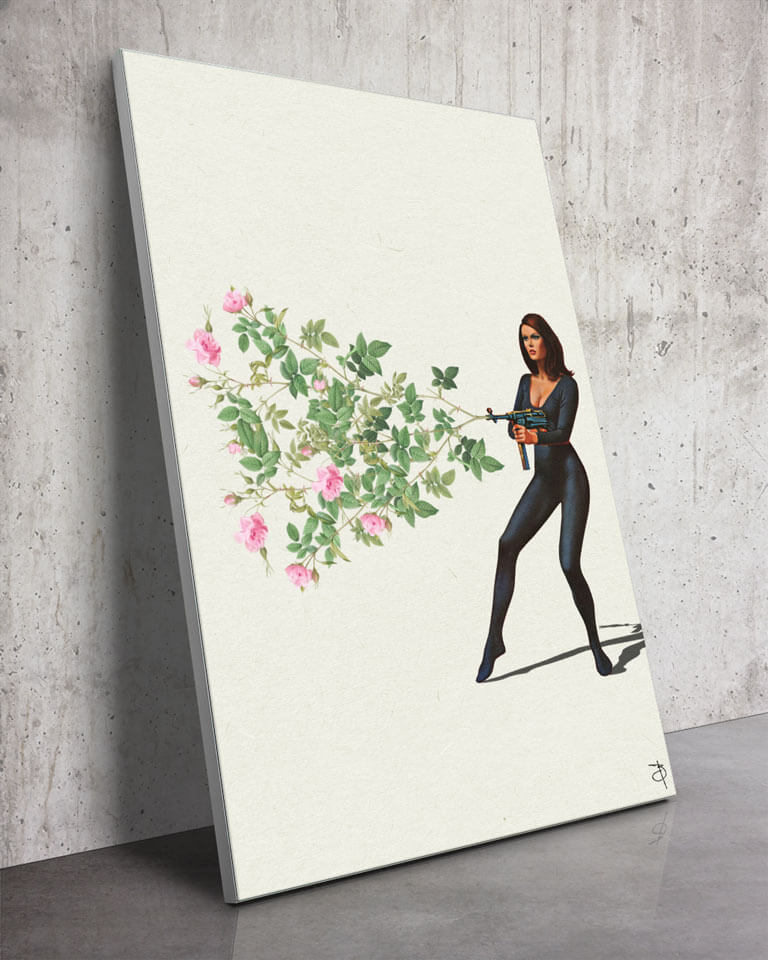 Oversized Vintage Surreal Floral Gun Collage Wall Art