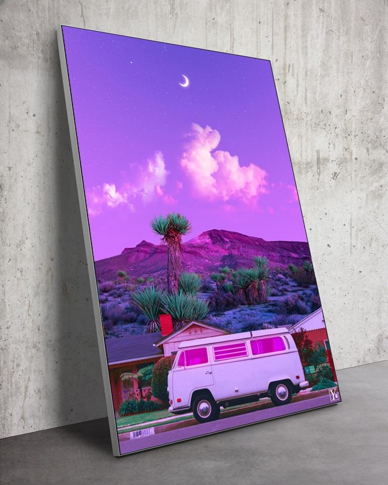Big Surreal Vintage Van Vaporwave Retro Collage Wall art for Home Decor by Yagedan