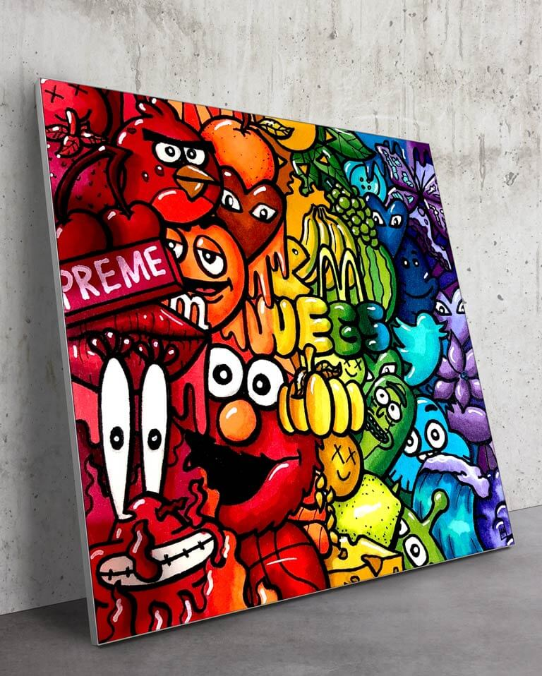 Big Rainbow Cartoon Wall Art Trippy Adventure Cartoon Doodle Illustration Drugs