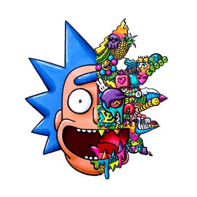 Huge Rick Wall Art Adult Swim Rick and Morty Trippy Adventure Cartoon Doodle Illustration Drugs