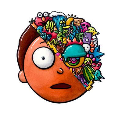 Huge Morty Wall Art Adult Swim Rick and Morty Trippy Adventure Cartoon Doodle Illustration Drugs
