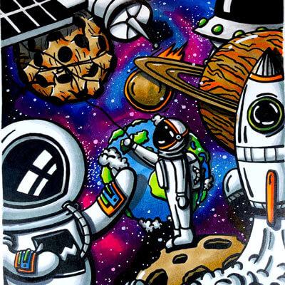 Huge Astronaut Wall Art Space Trippy Adventure Cartoon Doodle Illustration Drugs