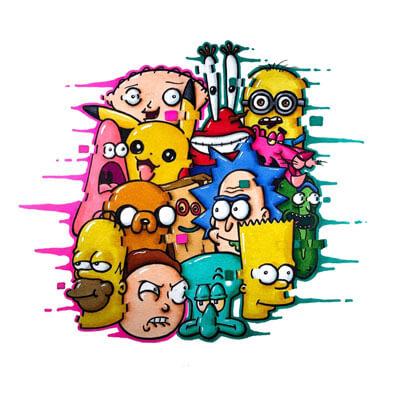 Huge Cartoon Wall Art Trippy Adventure Cartoon Doodle Illustration Drugs