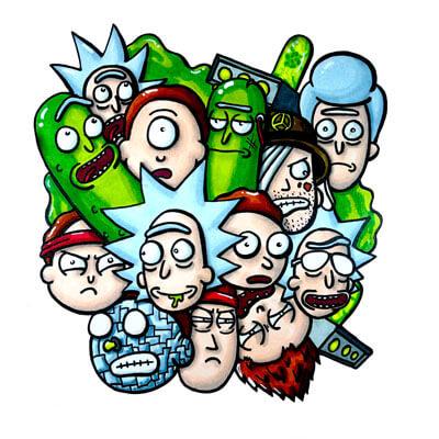 Huge Rick and Morty Wall Art Adult Swim Trippy Adventure Cartoon Doodle Illustration Drugs