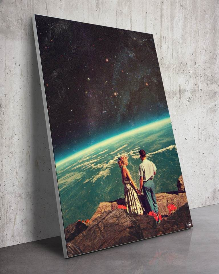 Big Earth from Space Collage Surreal Art Framed Fabric Wall Art