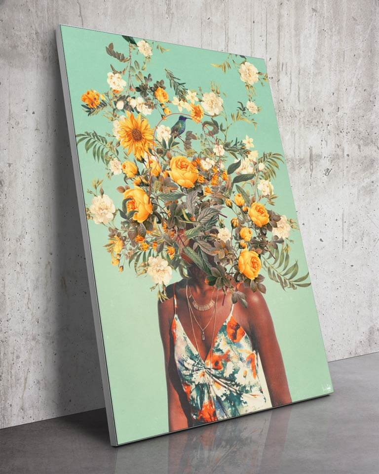 You Loved Me a Thousand Summers Ago | Frank Moth | a Slanted Large Surreal Wall Art Piece with a Woman with Yellow Flowers for a Head
