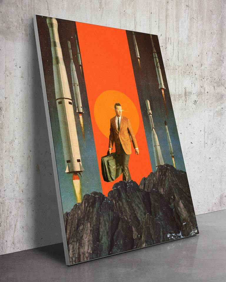 Big Rocket Collage Surreal Art Framed Fabric Wall Art