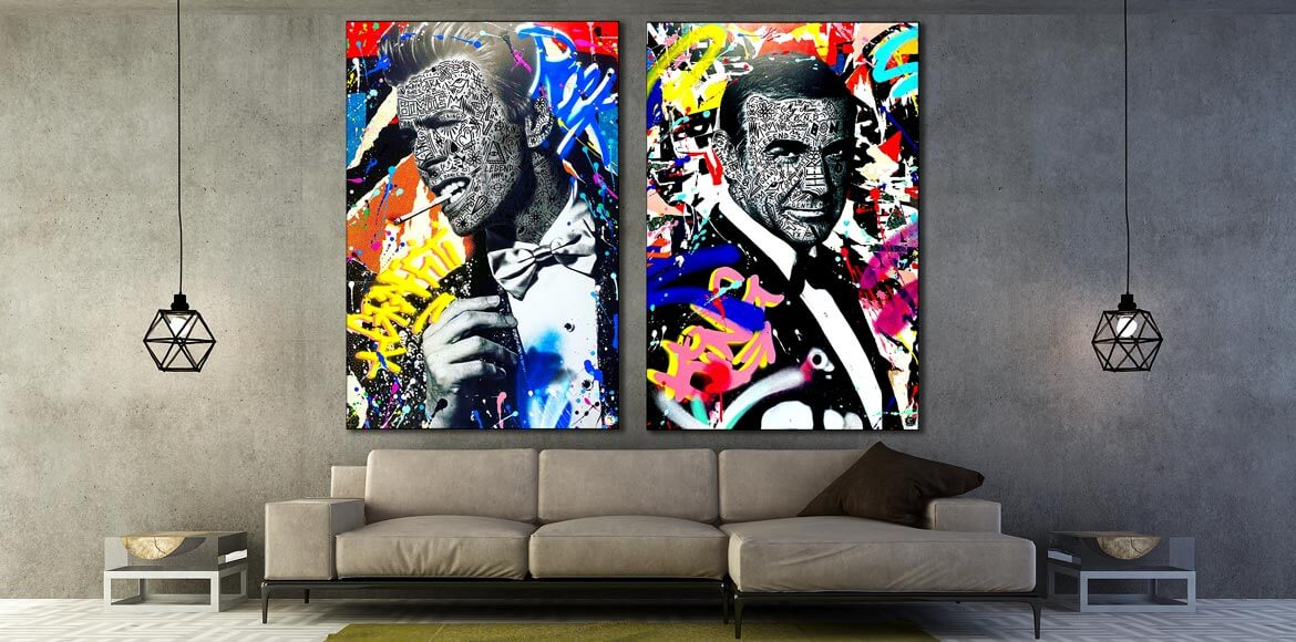 James Bond David Bowie Graffiti Wall Art by RS Artist for Huge Wall Decor