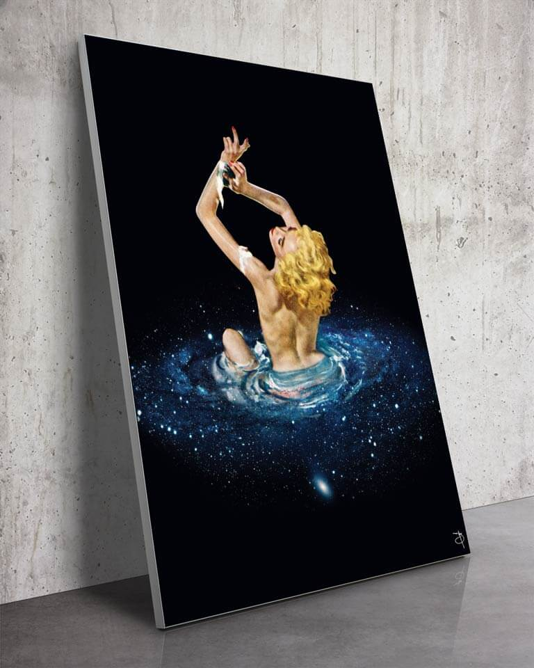 Galaxy Bath   Bambashkart   a Slanted Space Wall Art Piece with a Woman Bathing in the Universe