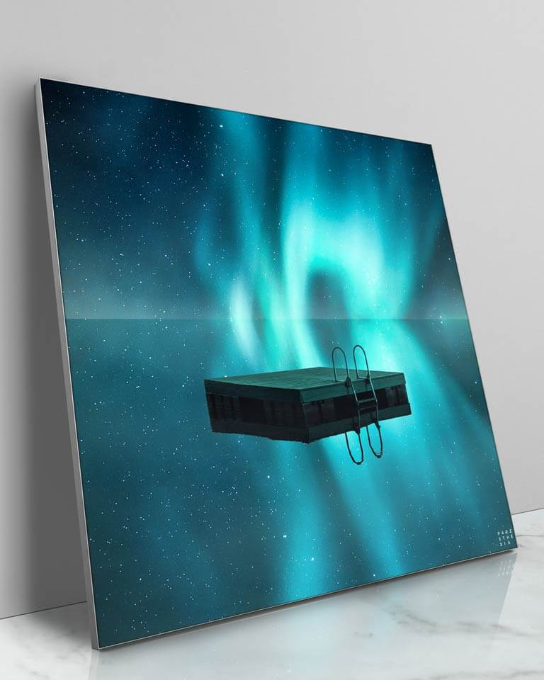 Large Galaxy Pond Reflection Framed Fabric Wall Art Paresthexia