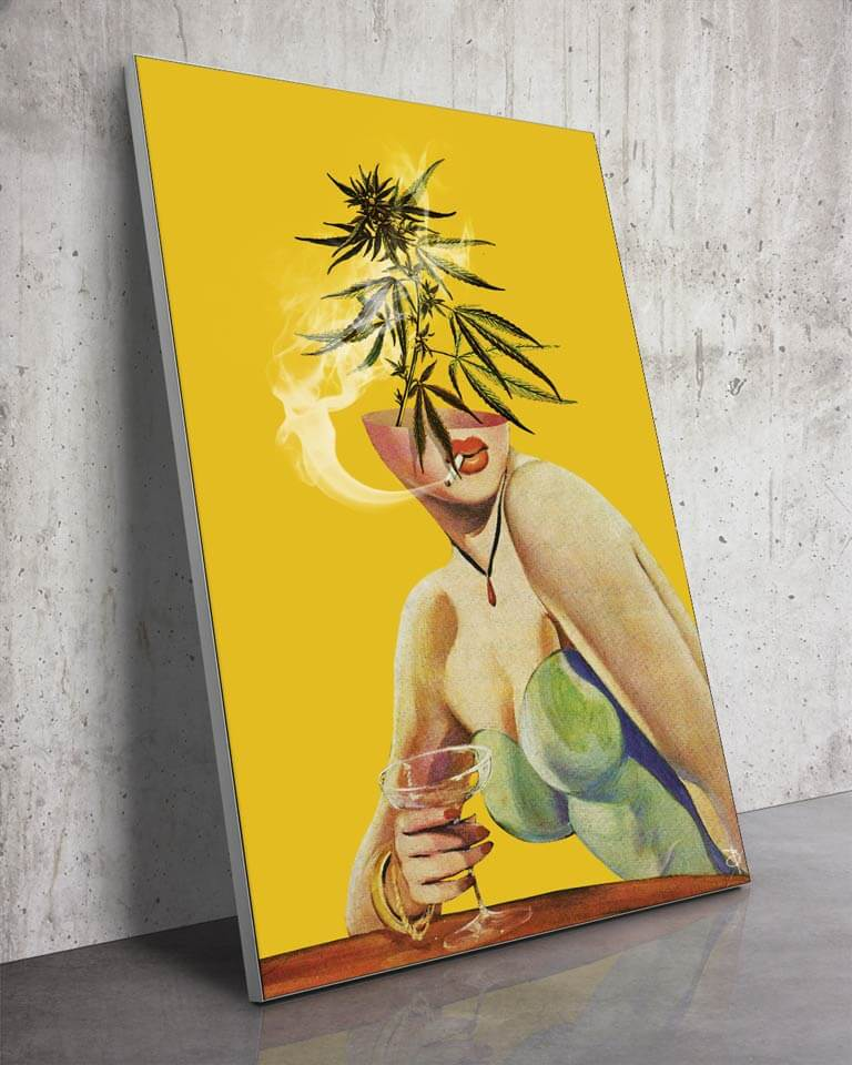 Big Surreal Marijuana Head Woman Weed Drugs Fabric Wall Art