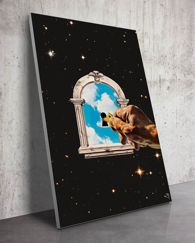 Sky Is the Limit | Bambashkart | a Slanted Space Wall Art Piece with a hand holding a key to another universe