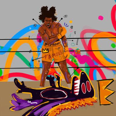 Large Basquiat Boxing Pop Art Framed Fabric Wall Art