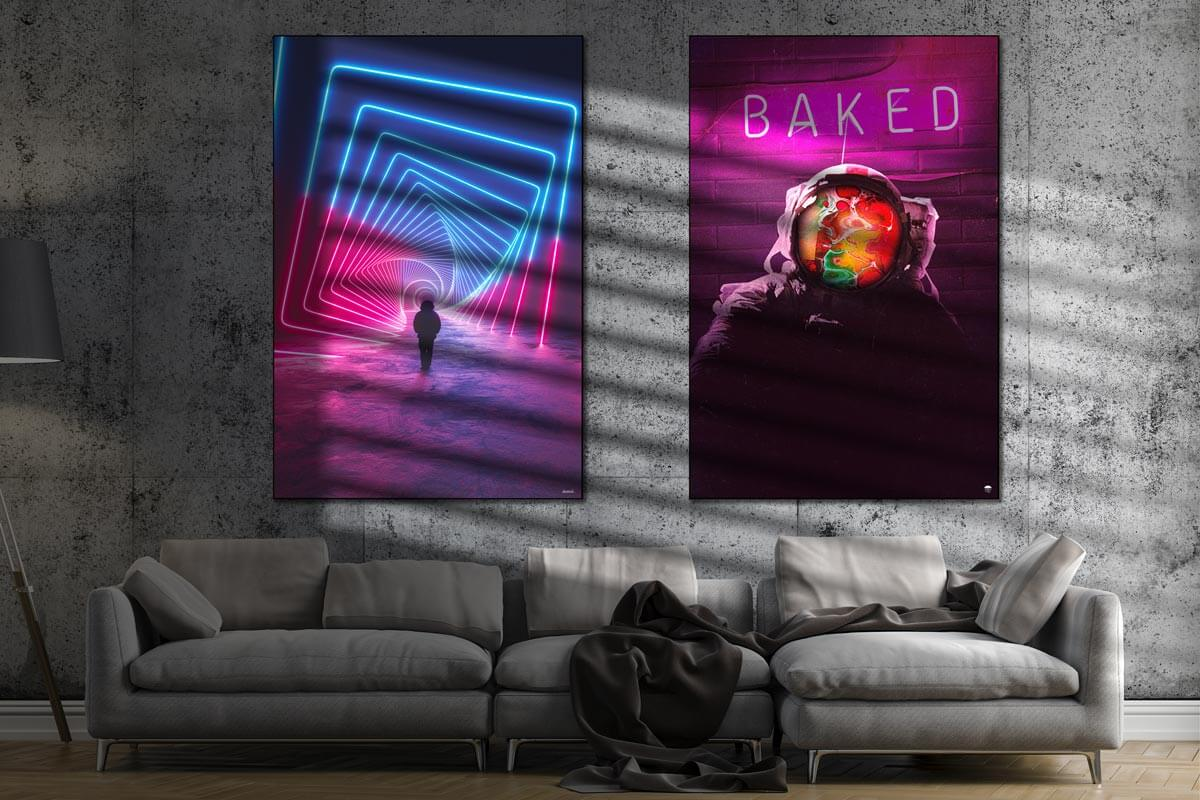 Large Affordable trippy drugs baked dope Framed Fabric Wall Art