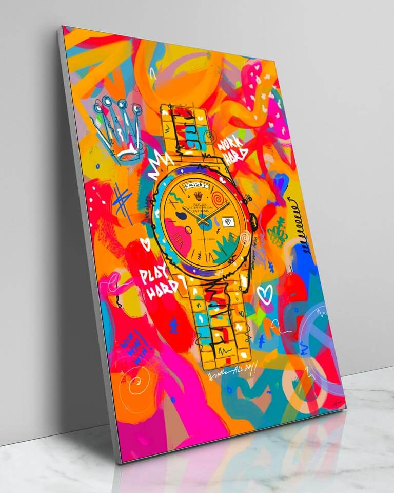Large Colorful Pop Art Rolex Framed Fabric Wall Art