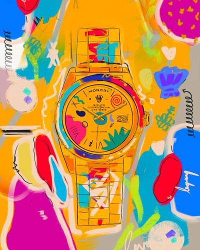 Large Colorful Pop Art Rolex Framed Fabric Wall Art